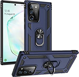 Zanderlyn Samsung Note 20 Ultra 5G Case with Kickstand and Metal Ring - Shockproof Samsung Note 20 Ultra 5G Case Military Grade Drop Tested - Slim Dual Layer Samsung Galaxy Note 20 Ultra Case - Blue
