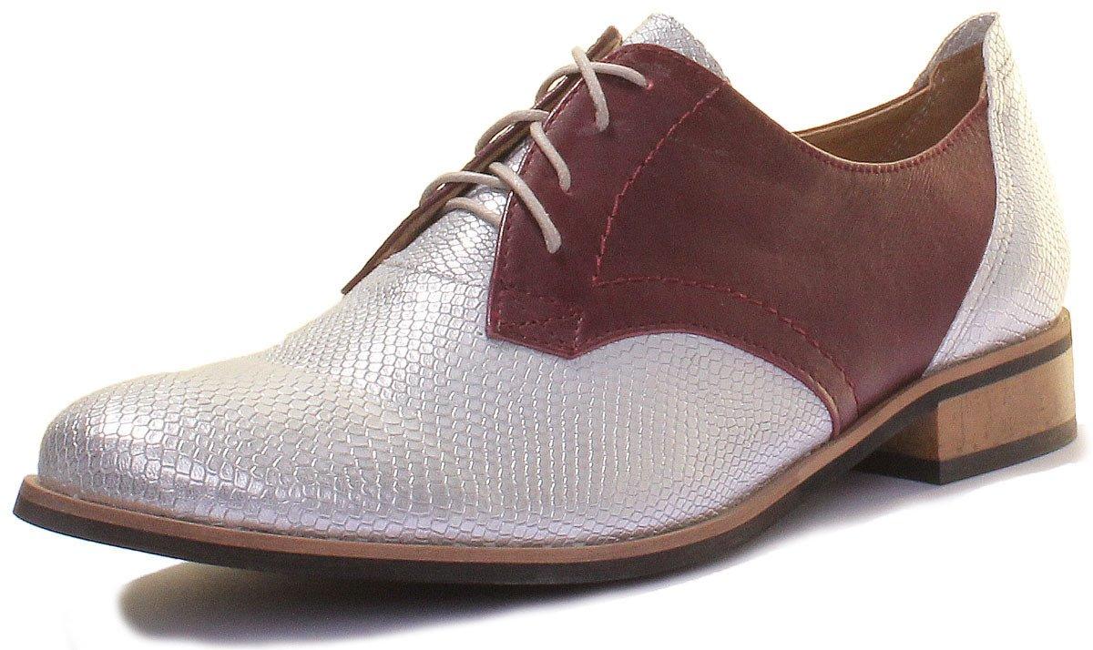Justin funda rígida overige de cuero de mujer zapatos de detalles perforados estilo cordones 36|Maroon SS19