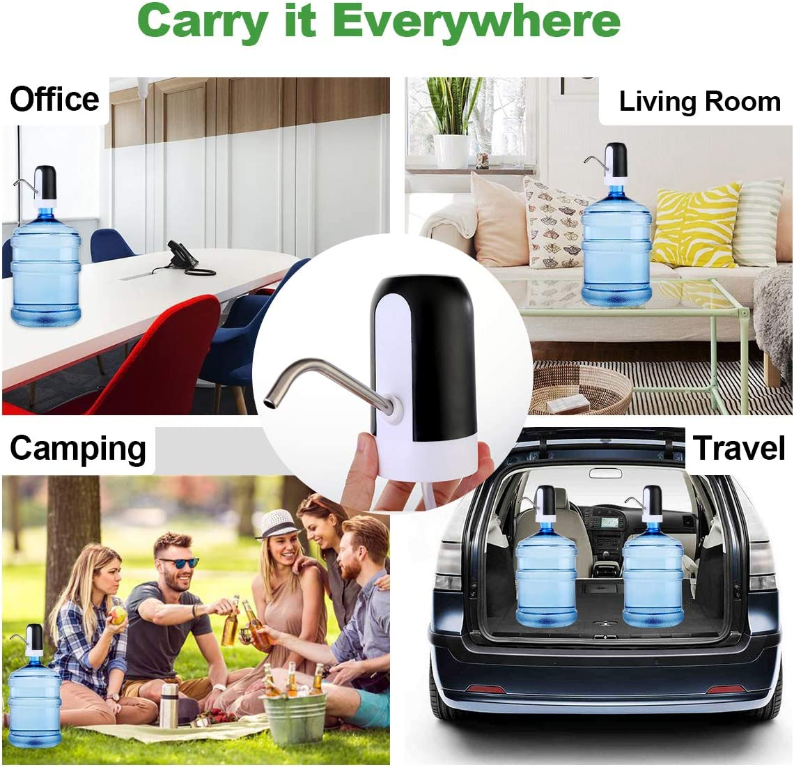 Drinking Water Pump Chillers Water Fountains Water Dispenser Wireless USB Charging Automatic for Universal Gallon Bottleatic Bottle (Golden) Black
