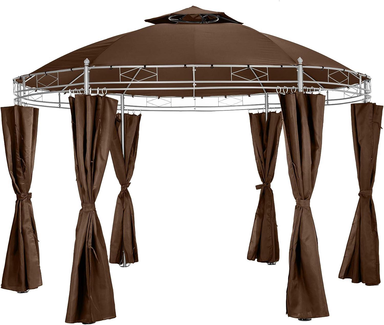 TecTake Carpa Fiestas y Eventos Incl.Paneles Laterales pabellón Ø350cm jardín Tienda de campaña Redondo (Marrón | no. 402458)