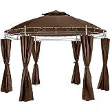 TecTake Tonnelle de Luxe Tente Ronde pavillon de Jardin d'événement avec Rideaux Ø 350 cm - diverses Couleurs au Choix - (Marron | no. 402458)