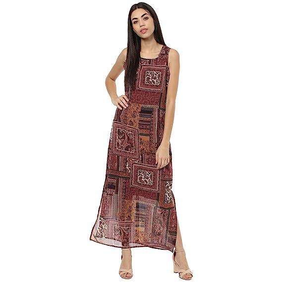 38e34828b69b Woowzerz Maroon Patch Print Maxi Dress: Amazon.in: Clothing ...