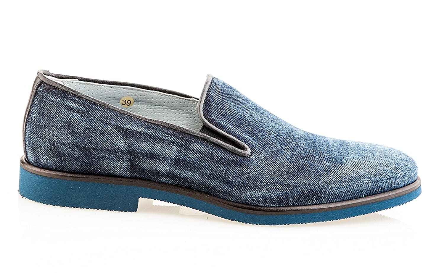 Blue Jeans Leather Italian Designer Men Shoes