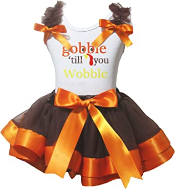 Petitebella Gobble Til You Wobble White L//S Shirt Brown Orange Petal Skirt Nb-8y