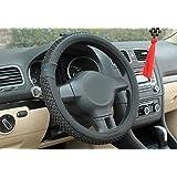 Nikavi Car Steering Wheel Cover, Microfiber, Emboss Holes, Soft Padding Great Hand Feel, Anti-Slip Matte Finish, 15 Inch Middle Size - Blackline