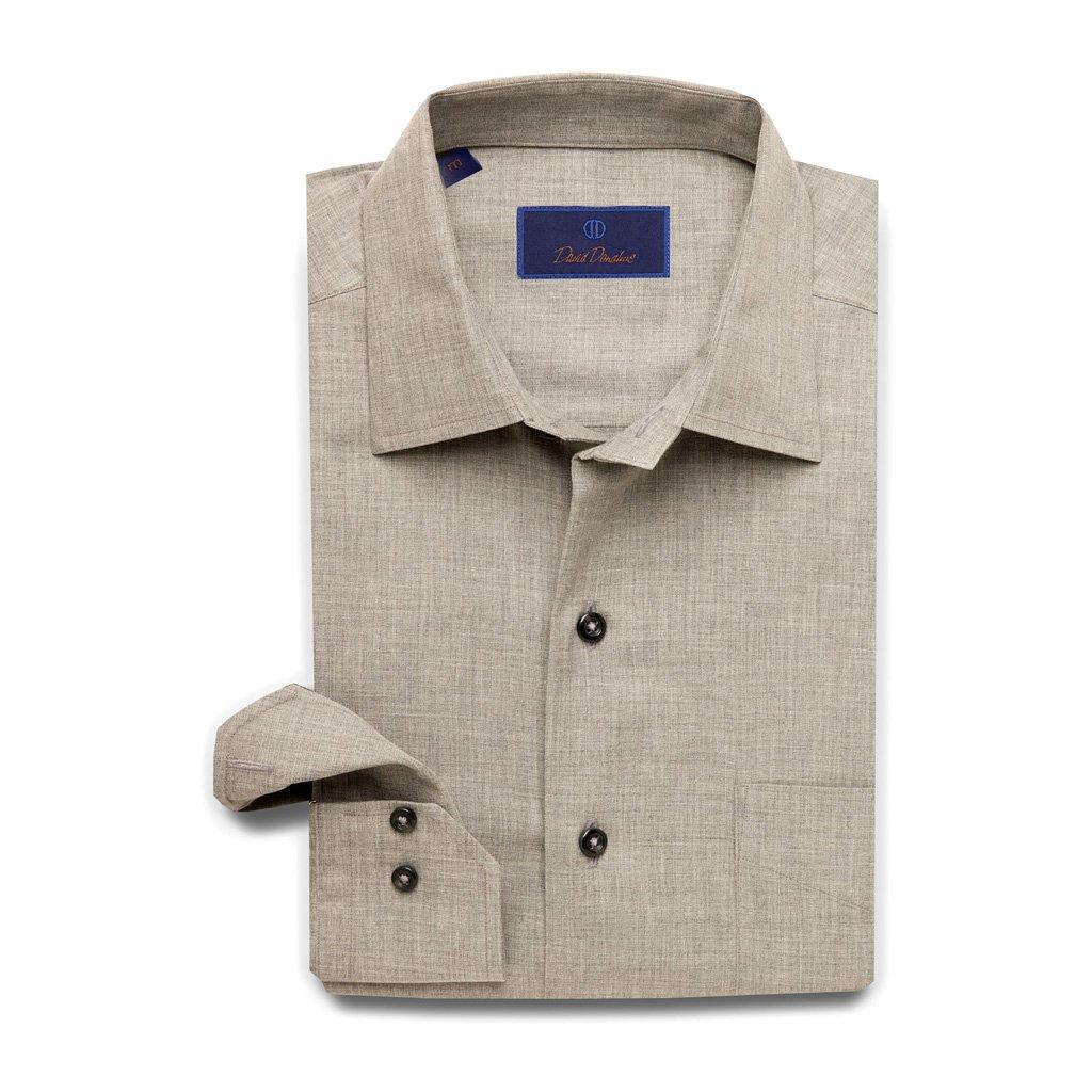 David Donahue Super Fine Cotton Barrel Cuff Sport Shirt XX-Large Charcoal
