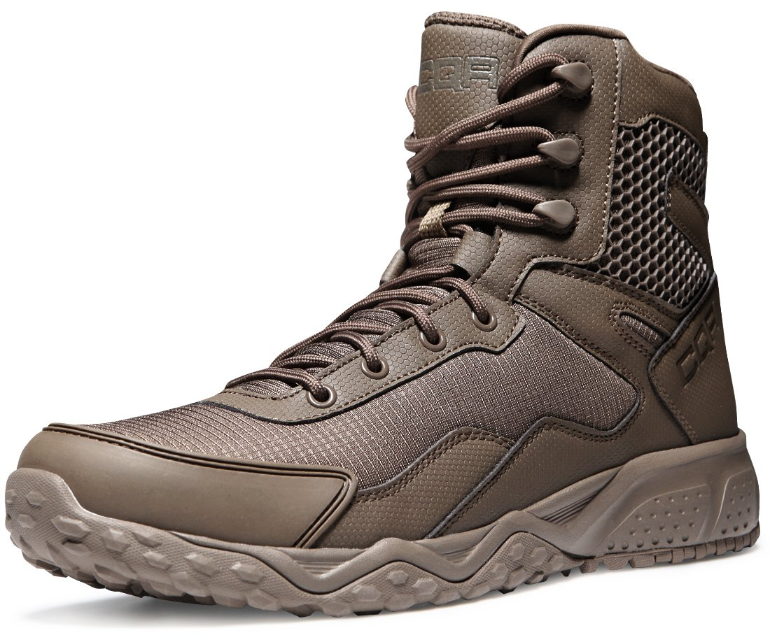 CQR CQ-BT102-CYT_Men 12 2E(M) Men's Lace-up Combat Military Tactical Mid-Ankle Boots EDC Outdoor Assault BT102 by CQR