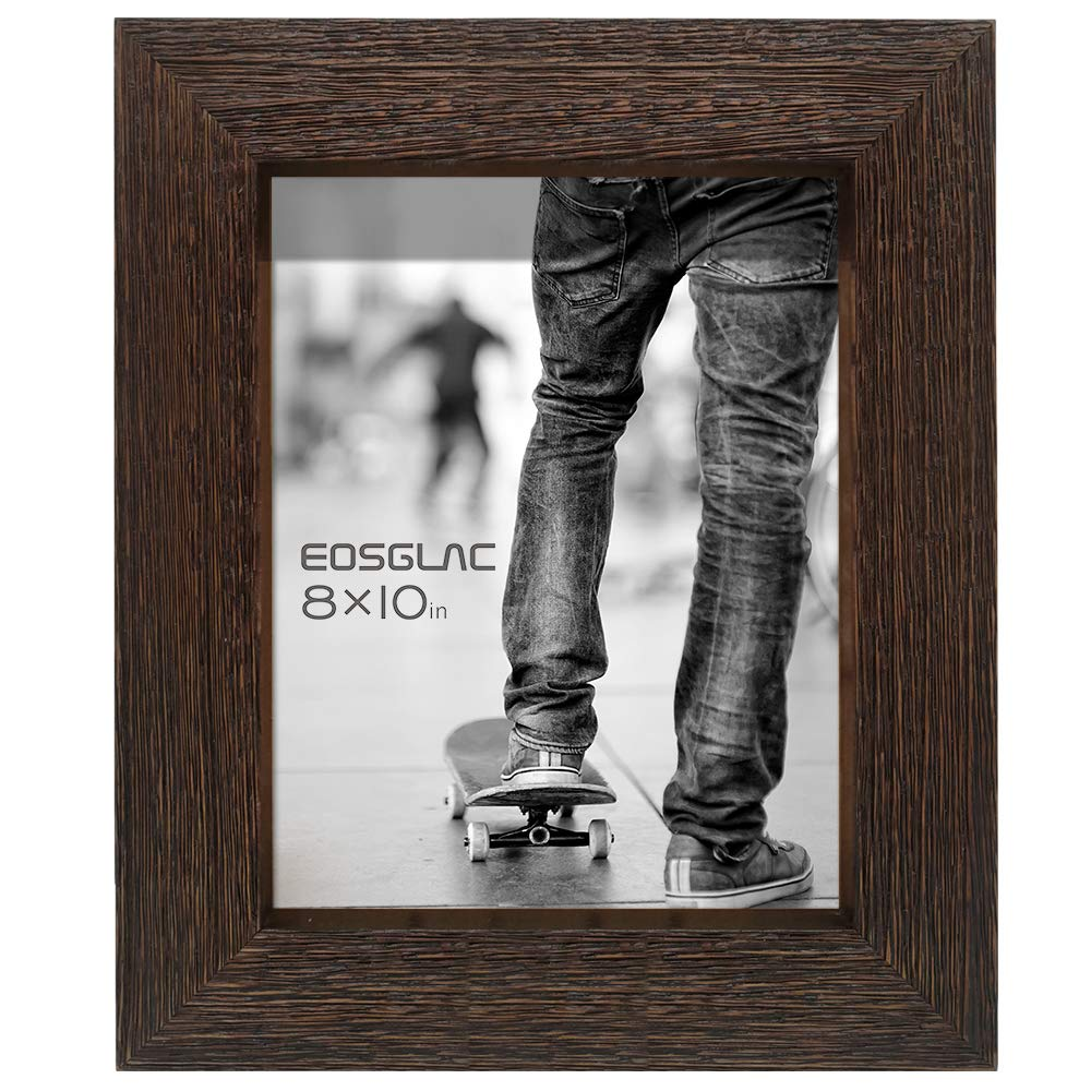 Eosglac Rustic Picture Frame 8x10, Weathered Dark Brown Reclaimed Look Wooden Photo Frame, Table Display with Easel by Eosglac