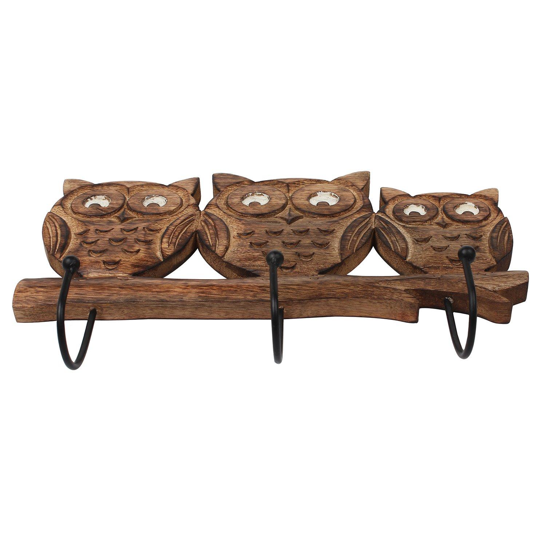Store Indya – Wall Hooks Key Holders – Owl Wooden Coat Hangers by storeindya (Image #4)