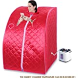 Uenjoy 2L Home Steam Sauna Spa Full Body Slimming Loss Weight Detox Indoor Therapy Red
