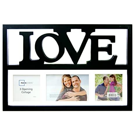 Amazon.com - Love 3-Opening Collage Black Wall Hanging Photo Frames ...