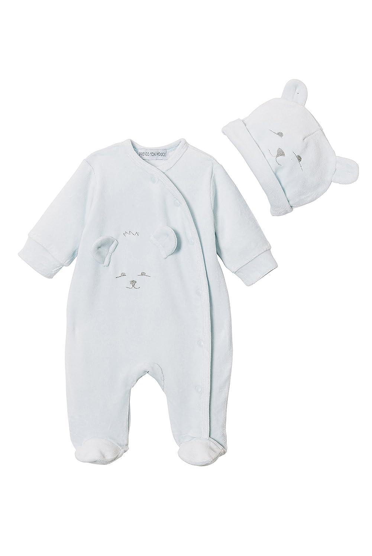 Pigiama tutina bebe - velluto blu - de Prematuro a 6 mesi