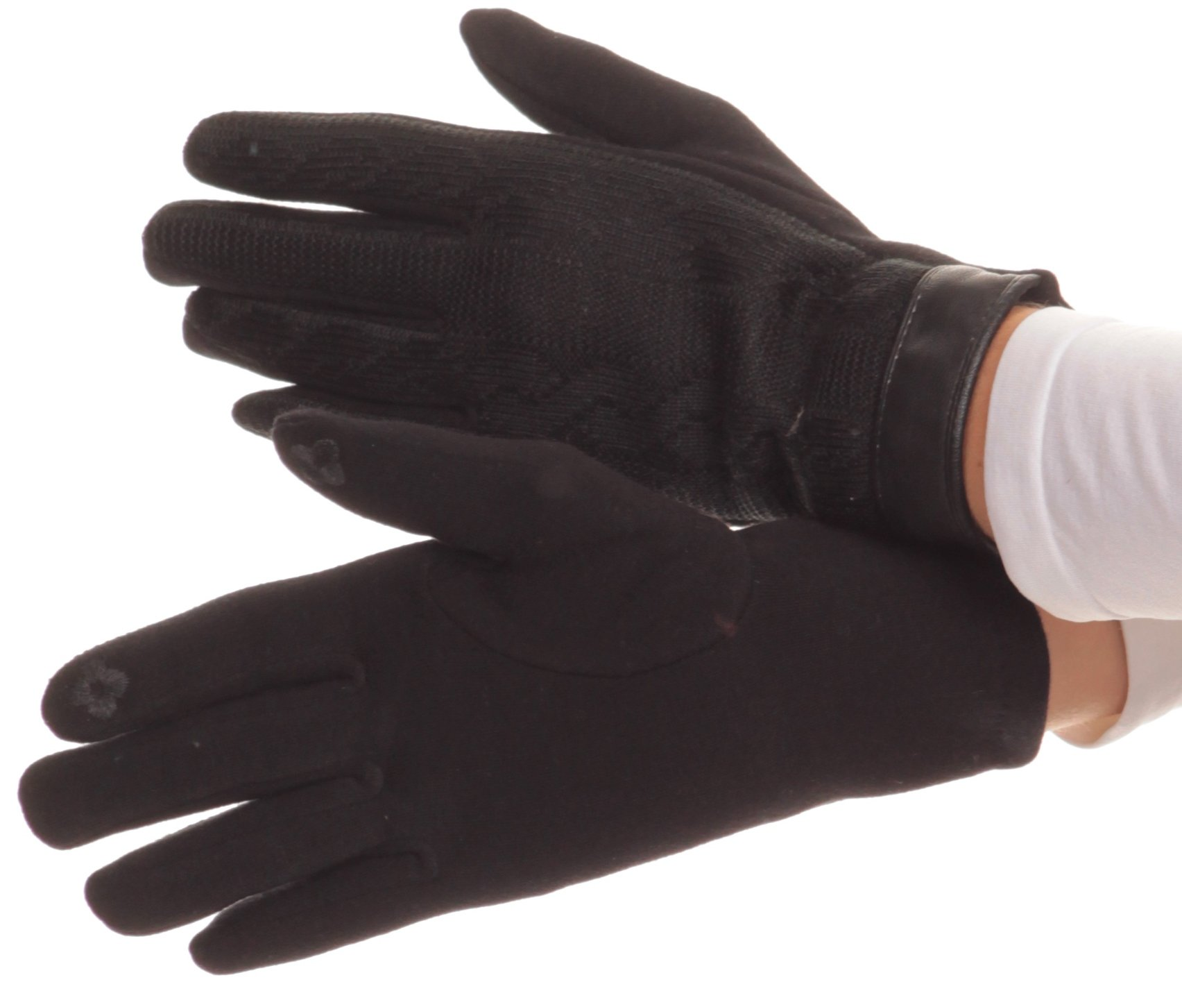 Sakkas 16167 - Rayanne Soft Classic Knit Faux Leather Wrist Band Touch Screen Warm Gloves - Black - L/XL