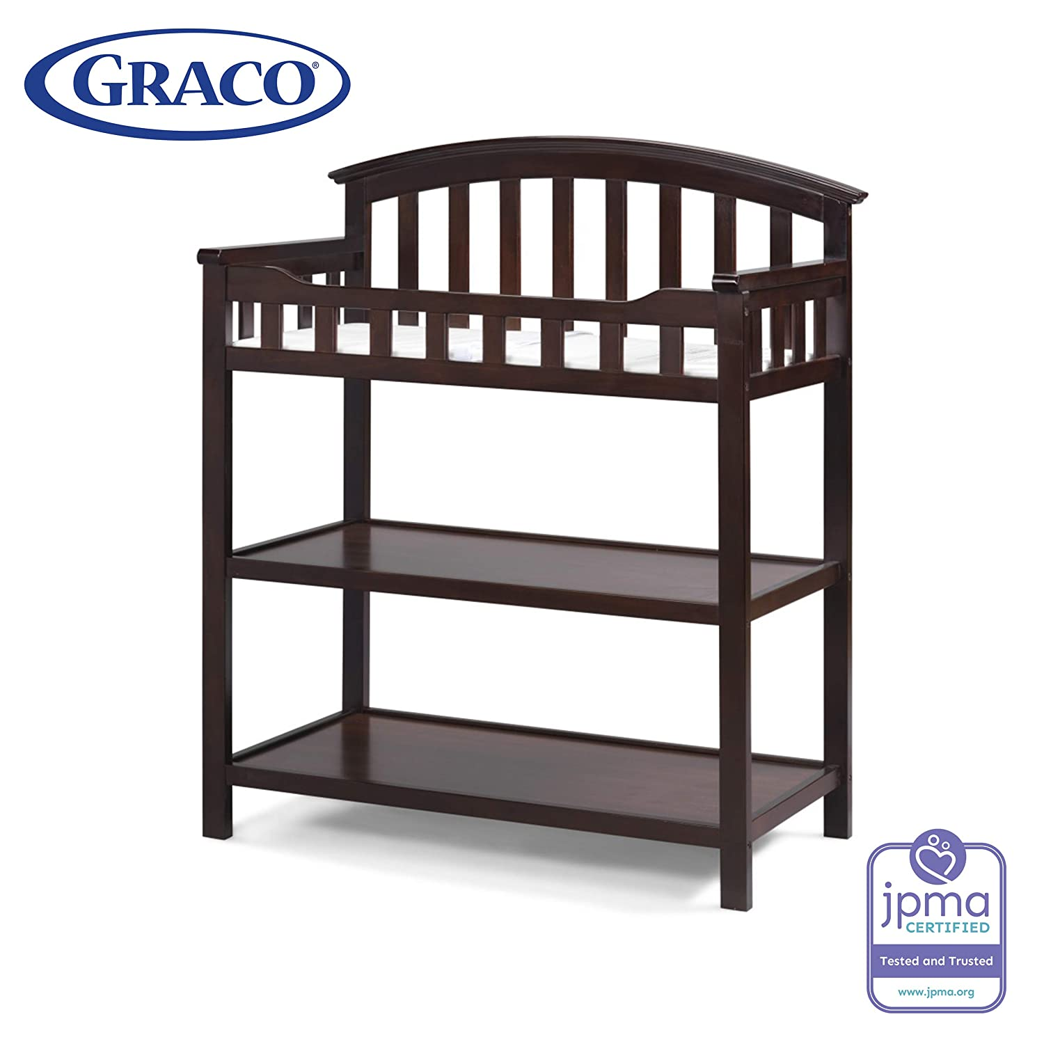 Graco Changing Table with Water-Resistant Change Pad and Safety Strap, Espresso, Multi Storage Nursery Changing Table for Infants or Babies