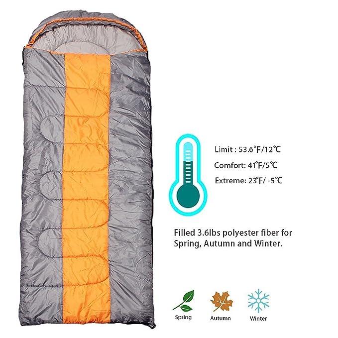 Camping saco de dormir, sobre 3 temporada saco de dormir con capucha, interior y al aire libre adulto saco de dormir de invierno para mochila senderismo ...
