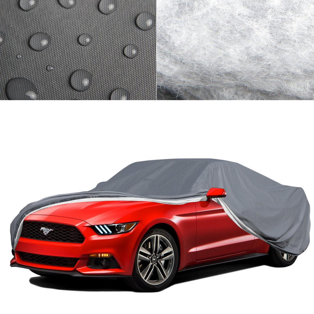 OxGord 5 LayerPly Duty Waterproof Car Cover with Fleece Inner Lining Fits Cars up to 168
