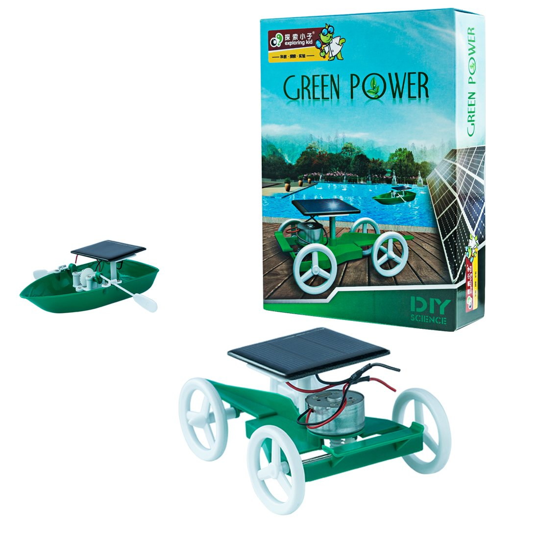 Yamix Science Kits 2 In 1 Solar Vehicle and Boat Experiment STEM Learning Toys Assembly Toy for Boys Girls Toddler Age 8+