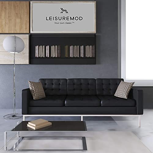LeisureMod Florence Style Mid-Century Modern Buttoned Tufted Sofa Black Leather