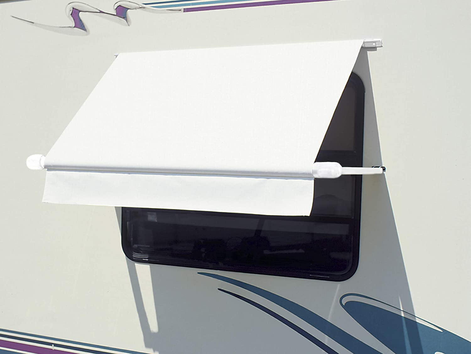 "CAREFREE WH0604F4FW White 6' (72"") Simply Shade RV Window Awning 71rQj2W75XLSL1500_"