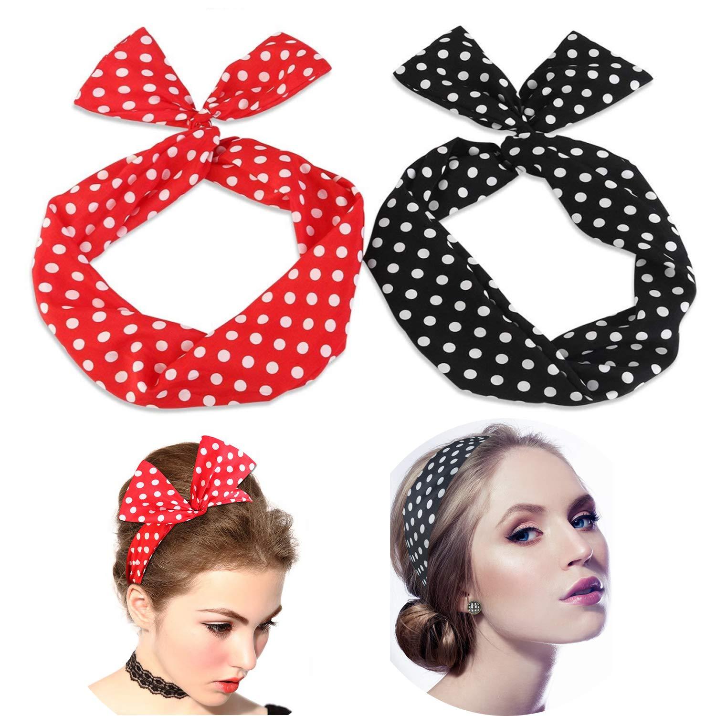 Lomire 2Pcs Bandeaux de cheveux pour femmes, serre-tête/headbands réglable d'un style des oreilles de lapin à pois polka rockabilly pour filles, accessoires bandes mignons pour femmes filles (A)