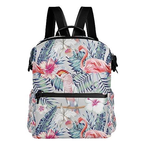 COOSUN Patrón de Orchid Hibiscus flamenco loro escuela de la mochila del morral del recorrido Multi