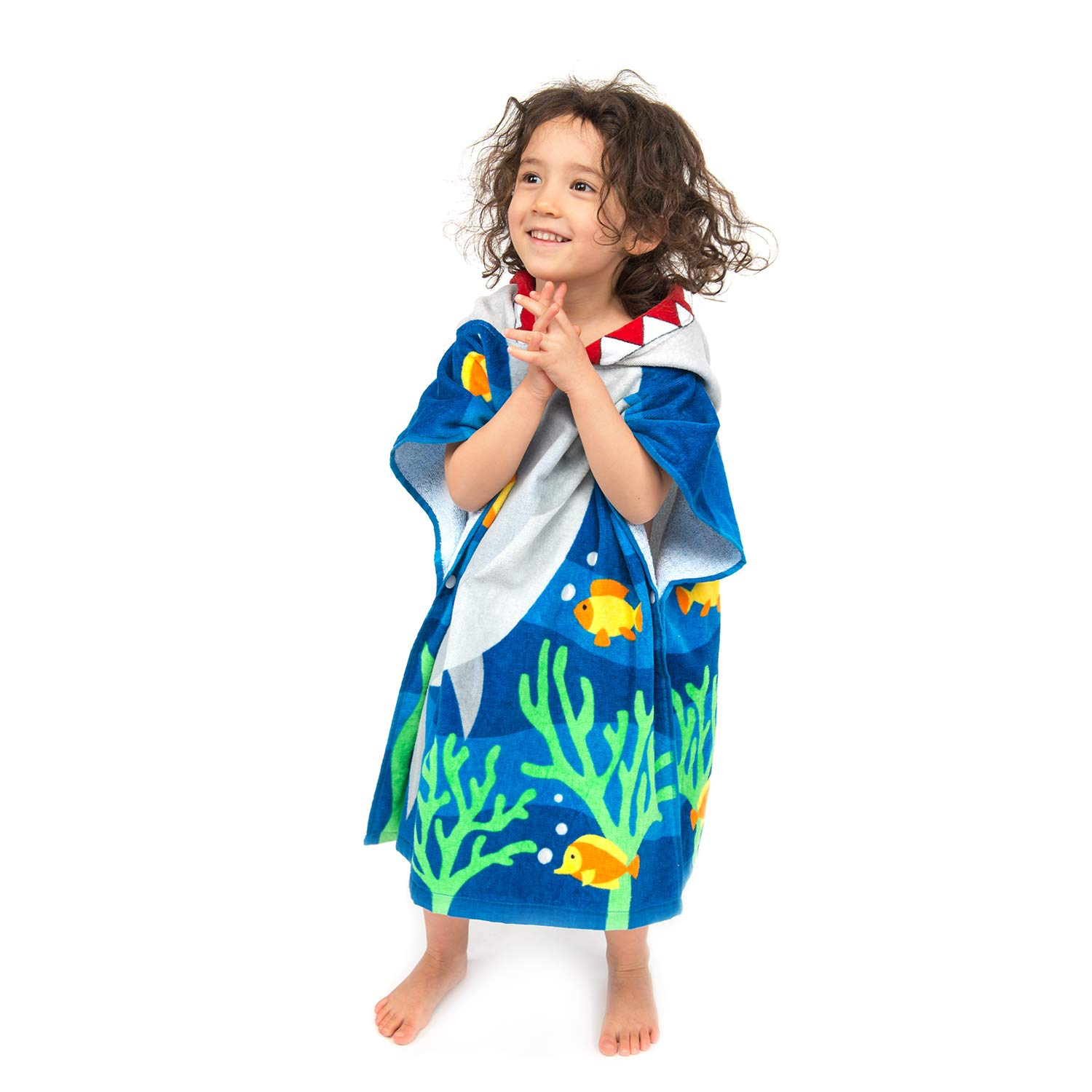 ZINGLIFE Hooded Towels for Kids Baby Boys Girls Toddlers Child Poncho Bath Towel for Beach Pool 100% Cotton Ultra Breathable Soft Enough Thick for Winter Size 24'' x 47''(Brave Shark) by ZINGLIFE (Image #3)