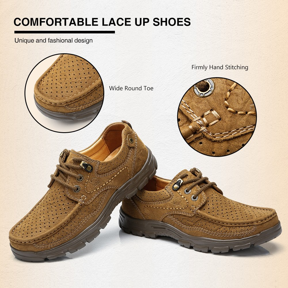 CAMEL Mens Casual Walking Shoes Leather Lightweight comfortable Non-slip Loafers for Business Work Outdoor