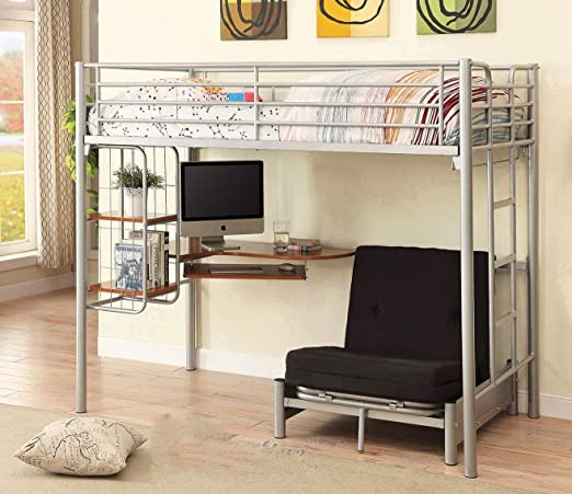 Amazon Com Twin Size Studio Loft Bed With L Shape Desk For Kids Teens Adults College Students Dorm With Metal Frame Includes Under Bed Cot Size Convertible Chair Folding Bed Twin Kitchen