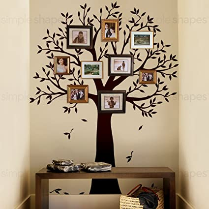 """409ab6fc8098 Narrow Family Tree Wall Decal (Chestnut Brown, Standard Size : 70""""w x  90&quot"""