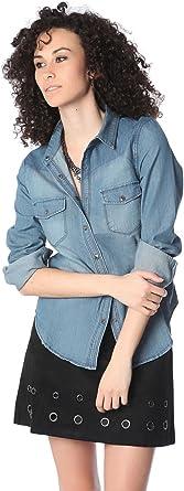 Q2 Mujer Camisa Vaquera con Tapeta con Botones de presión - XS - Azul: Amazon.es: Ropa y accesorios