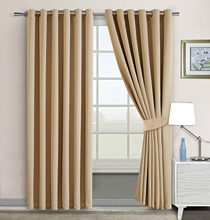 Imperial Rooms Window Blinds Blackout Eyelet Curtains Pair Of Luxury Thermal Insulated Beige 66x72