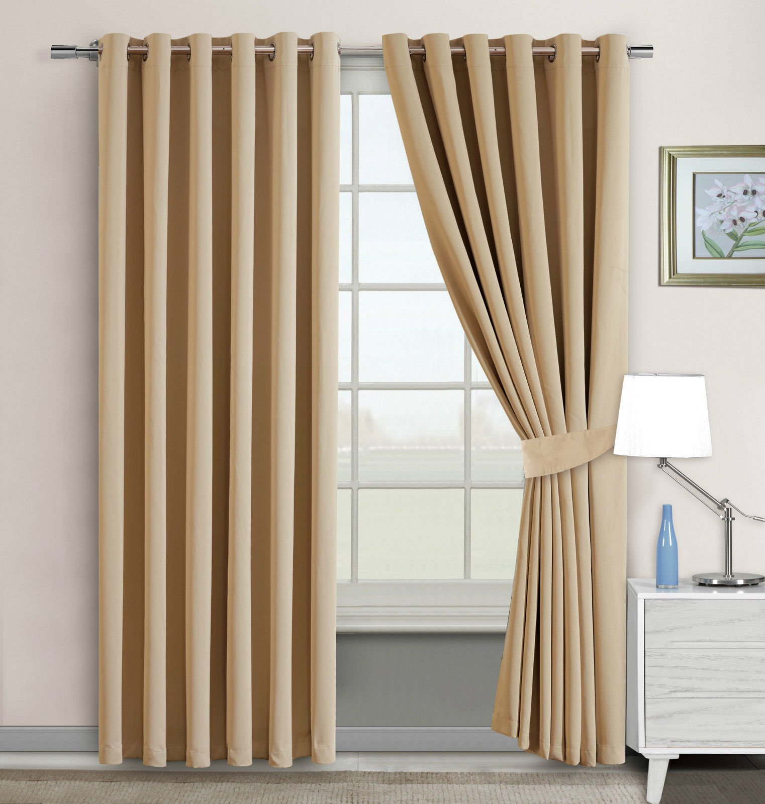 Imperial Rooms Window Blinds Blackout Eyelet Curtains Pair Of Thermal Insulated Beige 66x54