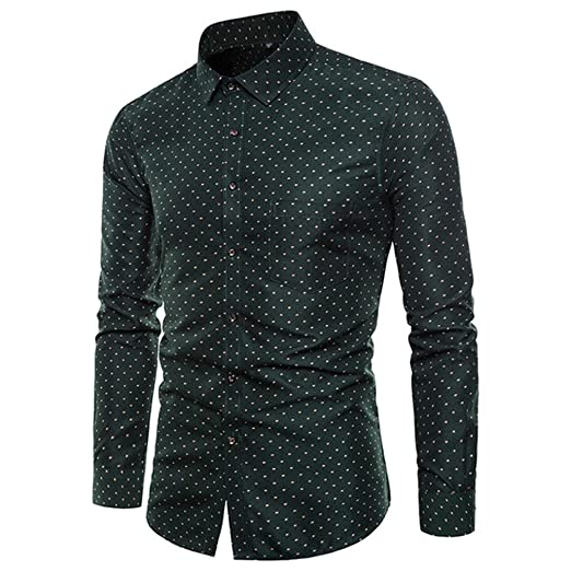 361b0cd549f Easytoy Mens Classic Solid Printed Slim Fit Button Down Long Sleeve  Business Casual Dress Shirts Oxford