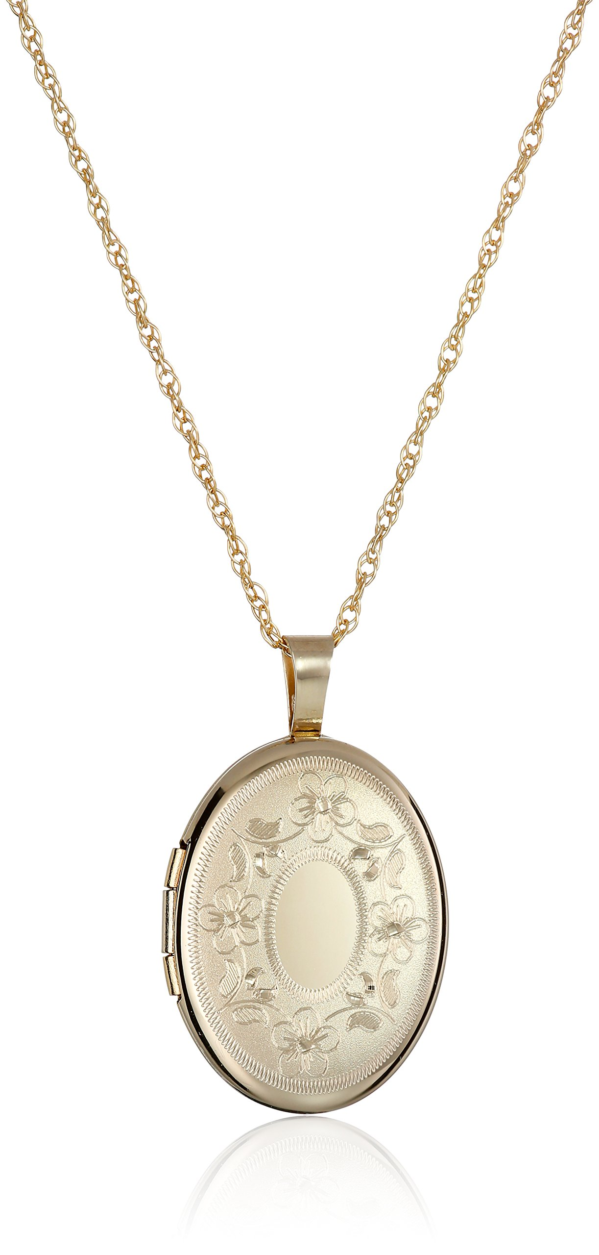 14k Gold-Filled with Floral Design and Center Signet Oval Hand Engraved Locket Necklace, 18'' by Amazon Collection