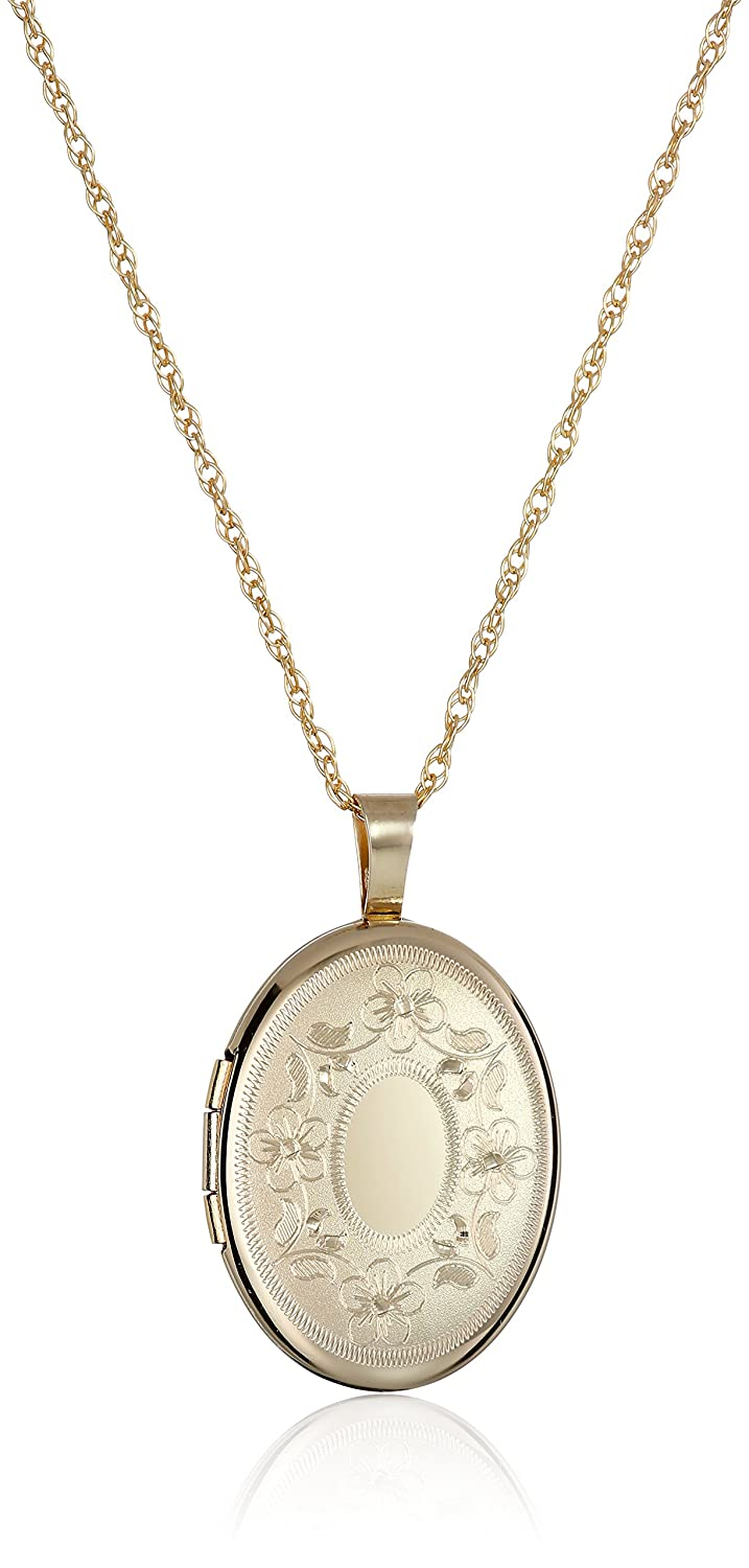 3d154bdf5 Amazon.com: 14k Gold-Filled with Floral Design and Center Signet Oval Hand Engraved  Locket Necklace, 18
