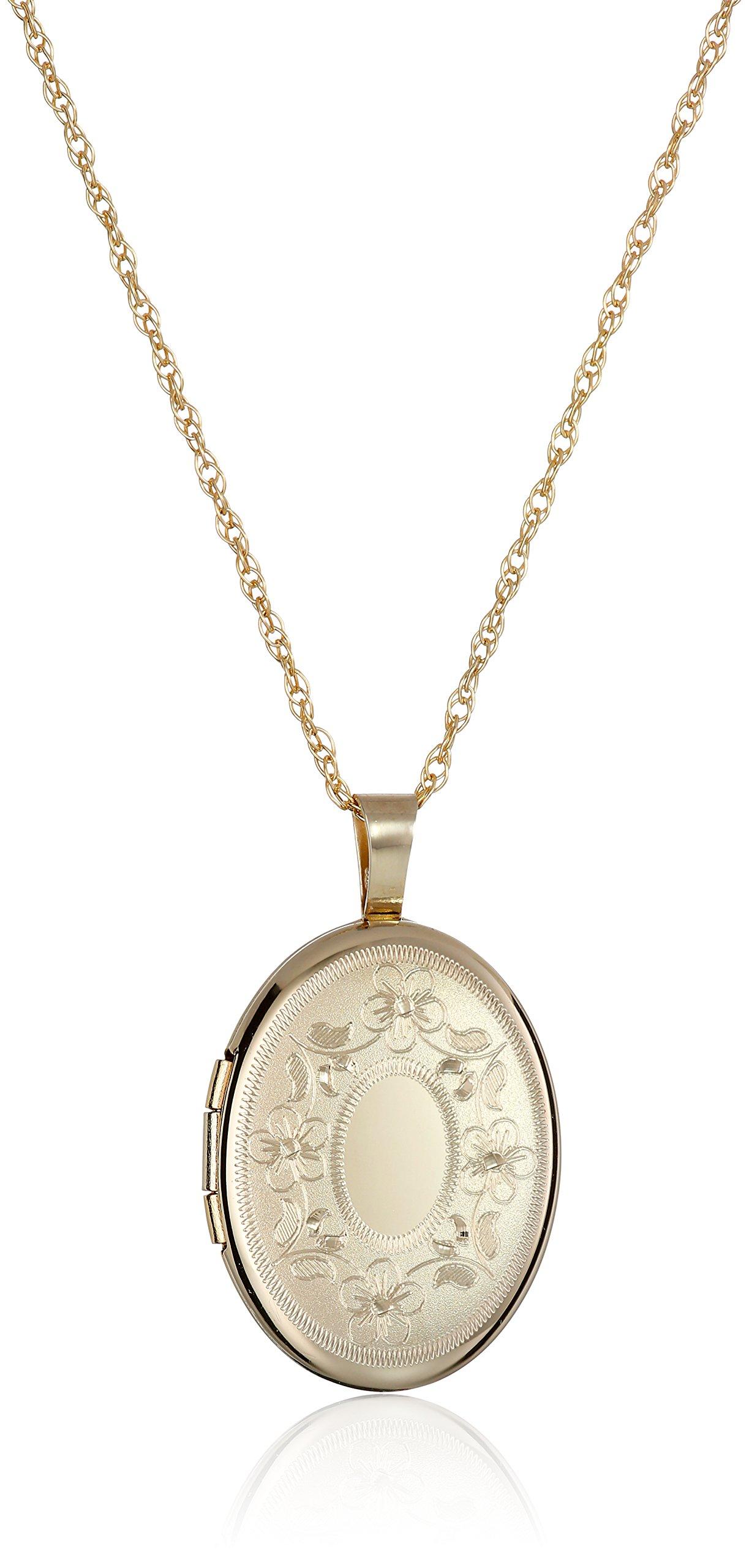14k Gold-Filled with Floral Design and Center Signet Oval Hand Engraved Locket Necklace, 18''