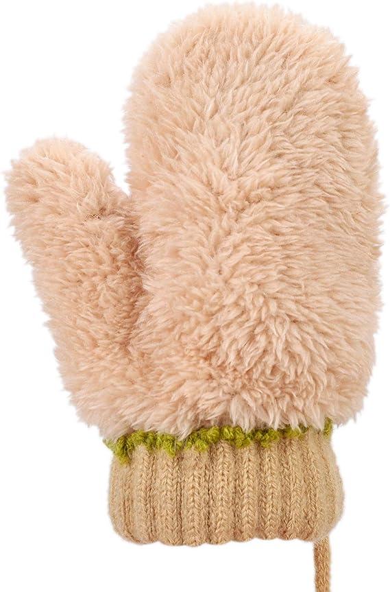 B/éb/é Moufle Tricot/é Enfants 1-3ans Cartoon Moufle Animal avec Corde anti-perdu Automne Hiver Gants Doublure en Peluche Doux Epais Chaud Mitaine Plein-doigts en Plein air Anti-froid Cadeau de No/ël