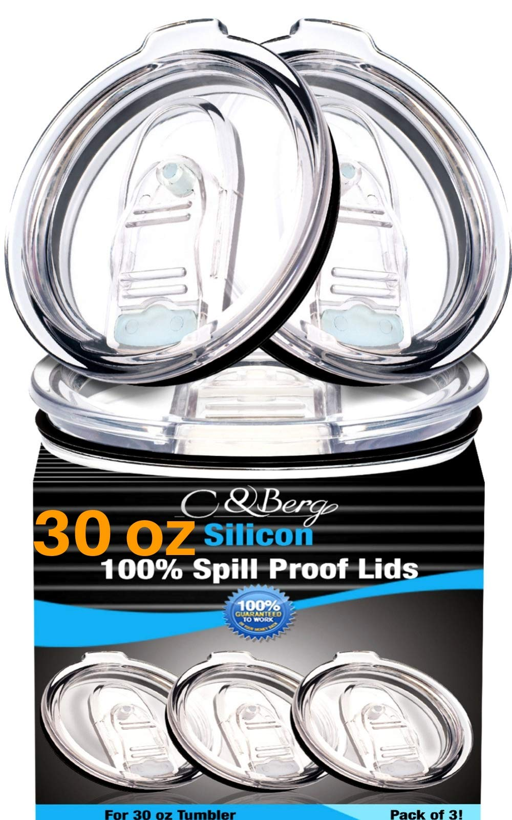 3 Yeti Lids 30 oz Spill Proof - No Leak & Splash Proof Replacement Silicon Slider Locking Closure, 3 Lids for Tumbler, Fit Ozark, Open/Close 3.5 Inch Diameter by C&Berg Model 2019