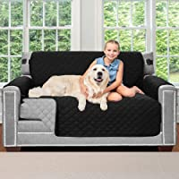 Sofa Shield Original Patent Pending Reversible Loveseat Protector for Seat Width up to 54 Inch, Furniture Slipcover, 2 Inch Strap, Couch Slip Cover Throw for Pets, Kids, Dogs, Love Seat, Black Gray