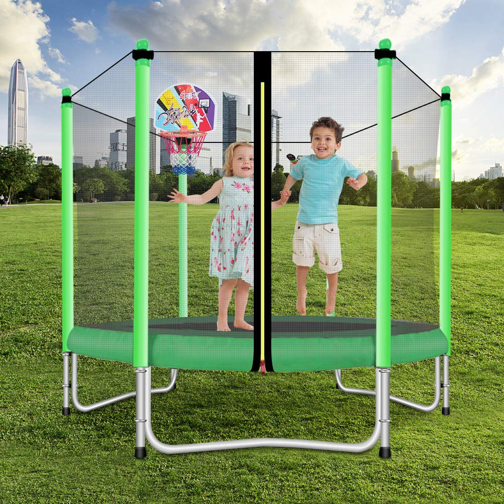 Lovely Snail Trampoline with Basketball Hoop-Trampoline for Kids-Green-5 Feet by Lovely Snail (Image #2)