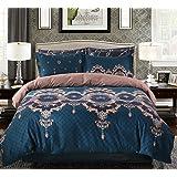 Bohemian Duvet Cover Set Luxury European Bedding Blue/Brown Floral Pattern Reversible,Queen Size-3 Pieces(1 Duvet Cover + 2 Pillowcases)-120 gsm Soft 1800TC Microfiber Mandala Bedding Set by Moreover
