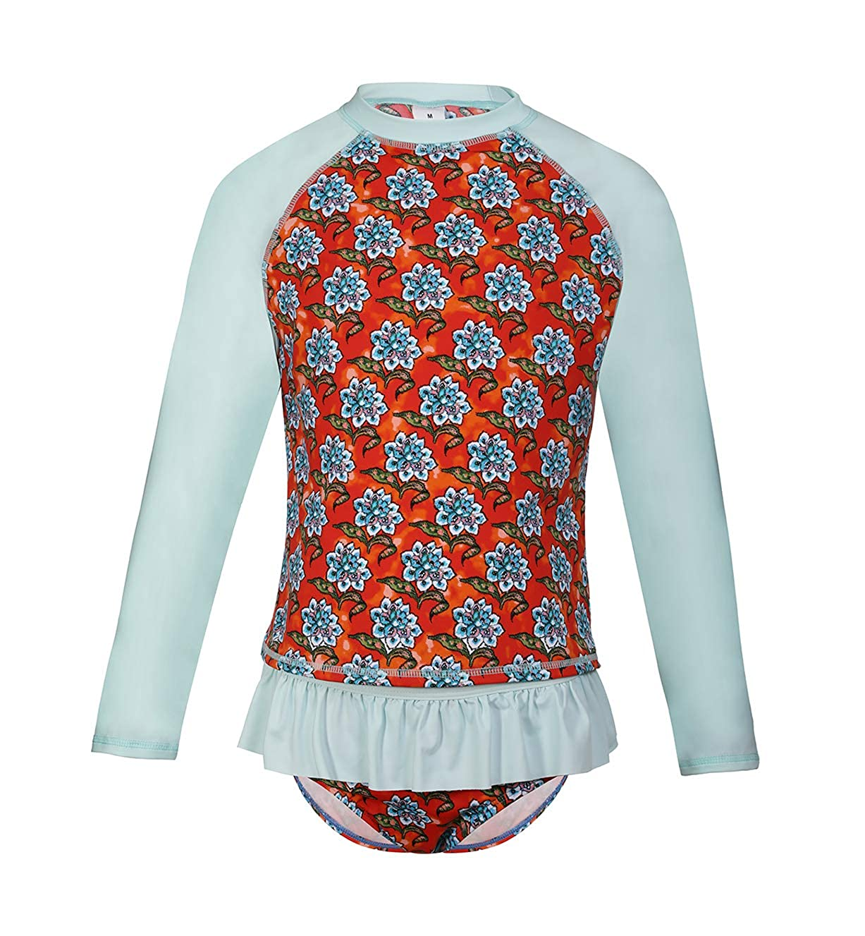 LEINASEN Kids Long Sleeve Two Piece Rash Guard Swimsuit Set for Girls Floral Ruffle Bathing Suits 5-14 Years