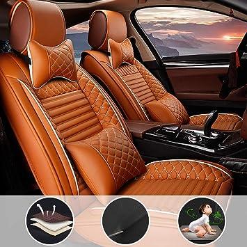 Shanhua Autositzbezüge 5 Sitze Full Set Universal Für K Ia Forte Mit Kopfstütze Und Lendenkissen Orange Auto