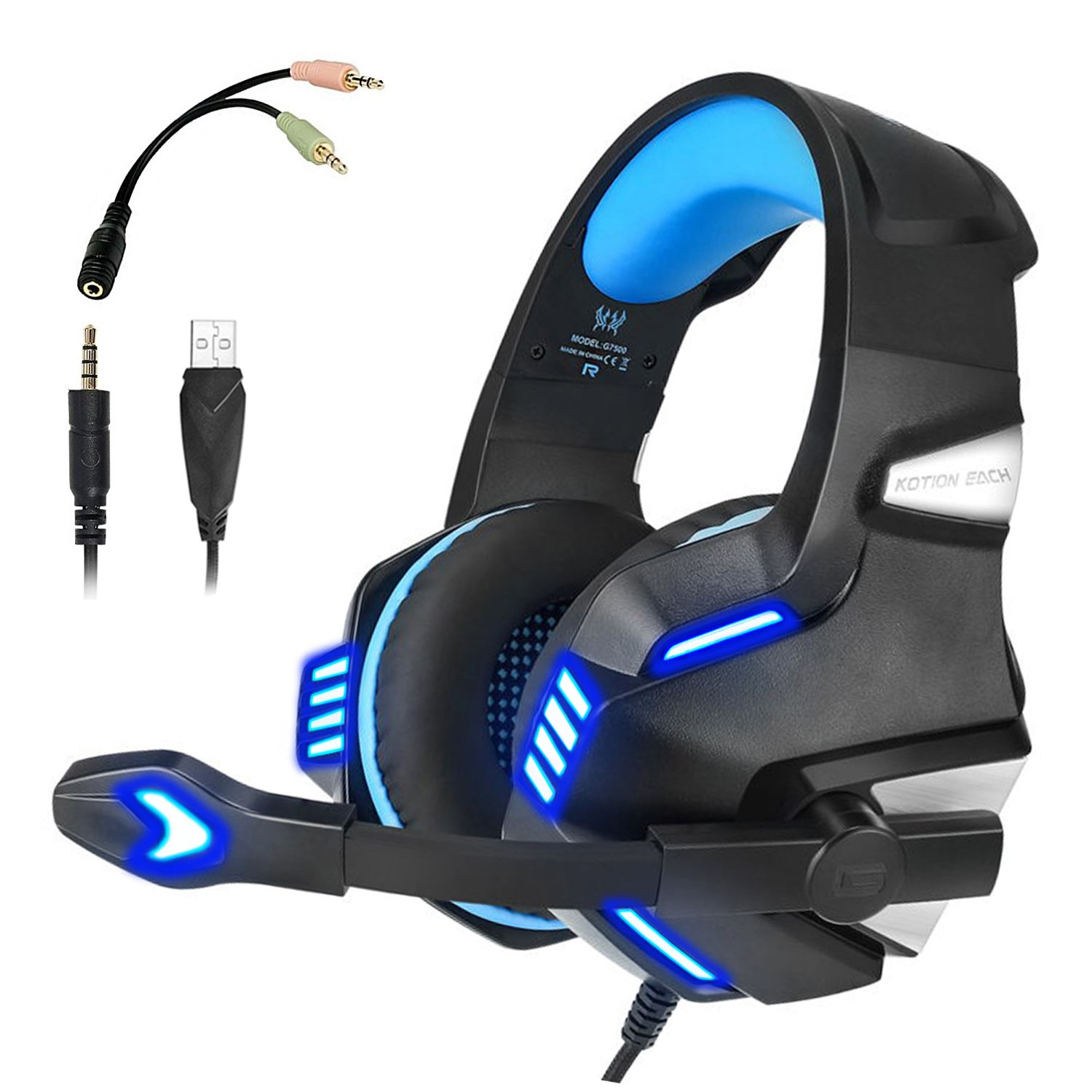 KJ-KayJI Gaming Headset for PS4 Xbox One Over Ear Gaming Headphones with Mic Stereo Bass Surround Noise Reduction,LED Lights and Volume Control for Laptop PC Mac IPad Computer Smartphones Xbox (Blue)