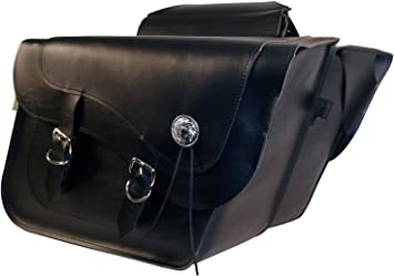 Dowco Willie /& Max 58707-00 Deluxe Series: Synthetic Leather Compact Slant Motorcycle Saddlebag Set Black Universal Fit 10 Liter Each//20 Liter Total Capacity