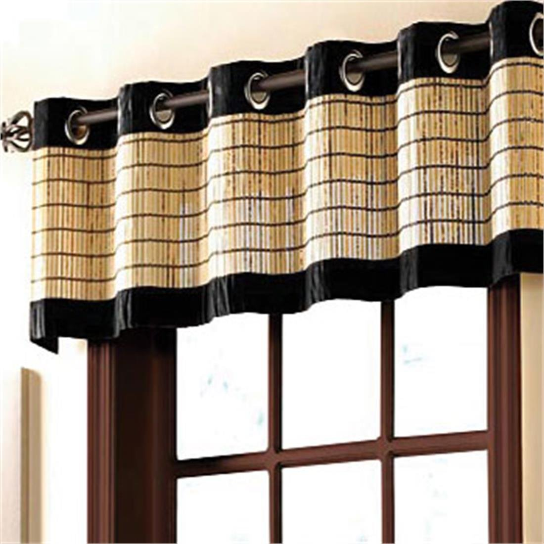 Hung on oil rubbed bronze curtain rod with bamboo roman shades - Amazon Com Brylanehome Bamboo Grommet Valance 60 Wx12 L Mahogany Brown Home Kitchen