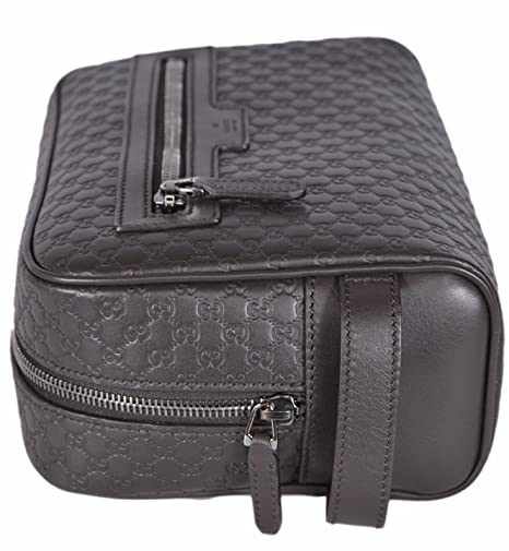 656ba1398932d3 Amazon.com  Gucci Men s Leather Micro GG Guccissima Large Toiletry Dopp Bag  (Brown)  Clothing