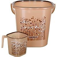 Nayasa 2 Piece Plastic Bathroom Bucket and Mug Set, Brown