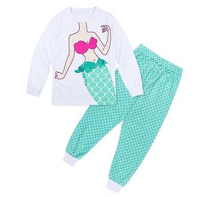 35a6e8824a7ae TiaoBug Enfant Fille Ensemble de Pyjama Imprimé Sirène T-Shirts Manches  Longues avec Legging Pantalon