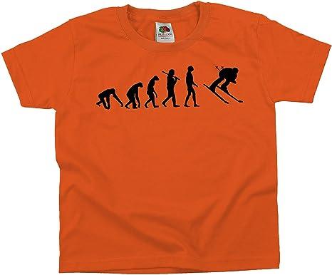 Ma2ca - Evolution - Skifahrer Ski - Kinder T-Shirt für Jungen und Mädchen -